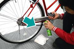 自転車のチェーンへ注油