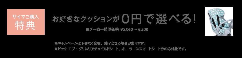 お好きなクッションが0円で選べる!